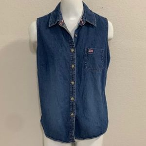 Vintage Sonoma Denim Sleeveless Top Size Large
